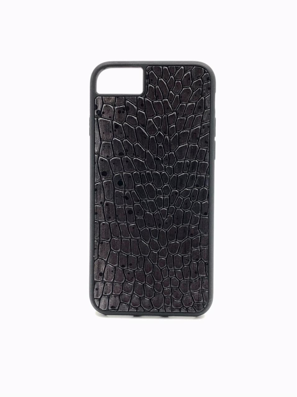 Чехол для iPhone 7/8 чёрного цвета из Телячьей кожи тиснёной под Крокодила
