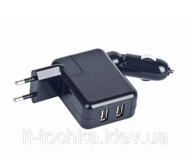Зарядное устройство gembird mp3a-uc-accar2 black авто прикуриватель+ розетка