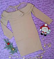 Нарядная подростковое платье-туника на рост 128-152, кофейное