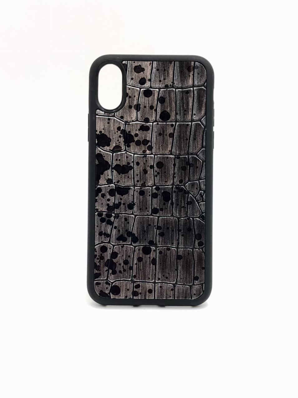 Чехол для iPhone X/Xs цвета металлик из Телячьей кожи тиснёной под Крокодила