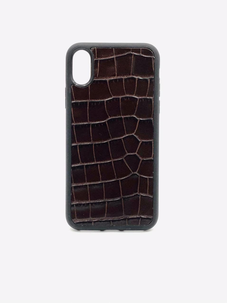 Чехол для iPhone X/Xs коричнего цвета из Телячьей кожи тиснёной под Крокодила