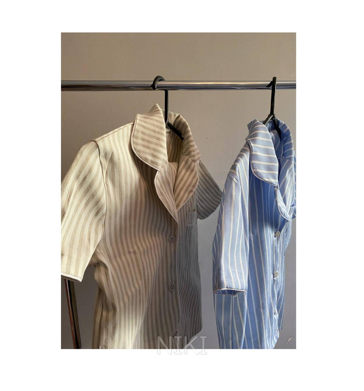 Женская льняная пижама для комфортного сна Light-Blue (size S)