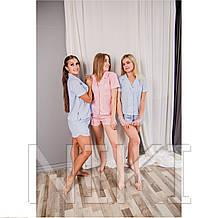 Женская льняная пижама для комфортного сна Light-Blue (size м)