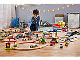 Великий набір дерев'яна яної залізниці, машинок PlayTive + пластиковий бокс ikea 233 їв, фото 2