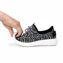 Кросівки в стилі ADIDAS YEEZY кеди жіночі текстильні чорні з білою підошвою