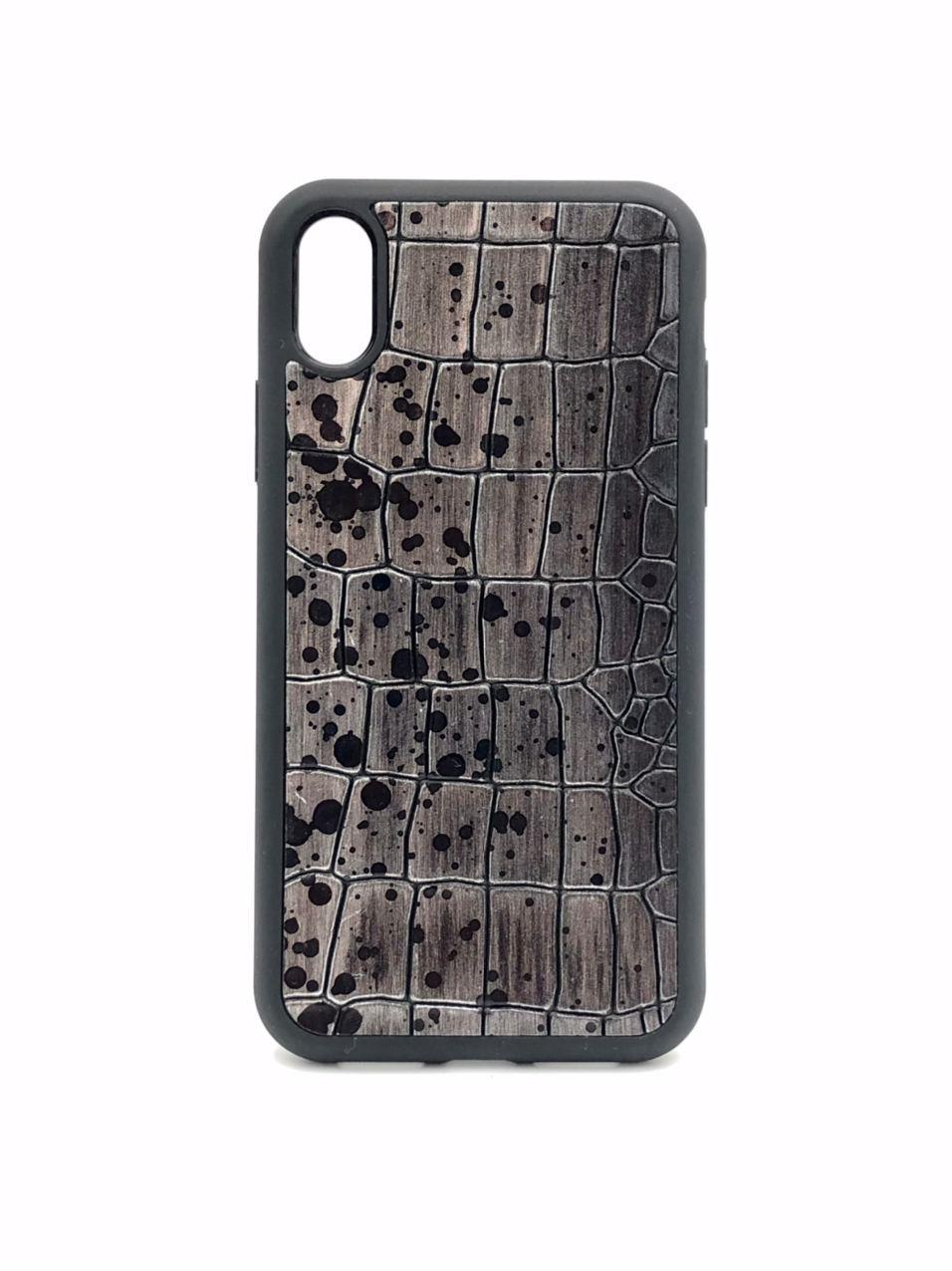 Чехол для iPhone Xs Max цвета металлик из Телячьей кожи тиснёной под Крокодила