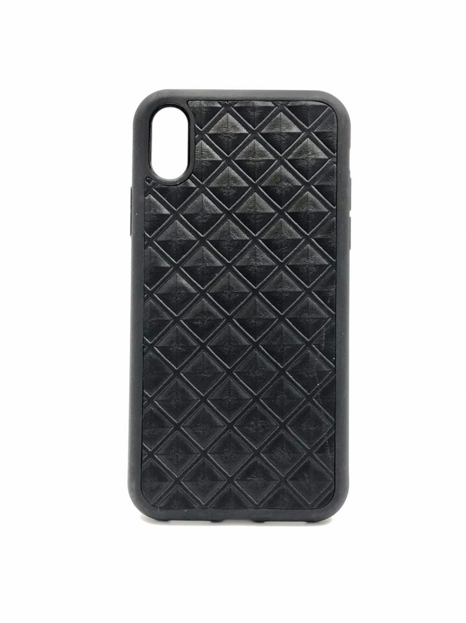 Чехол для iPhone Xs Max чёрного цвета из Телячьей кожи тиснёной под ромбы
