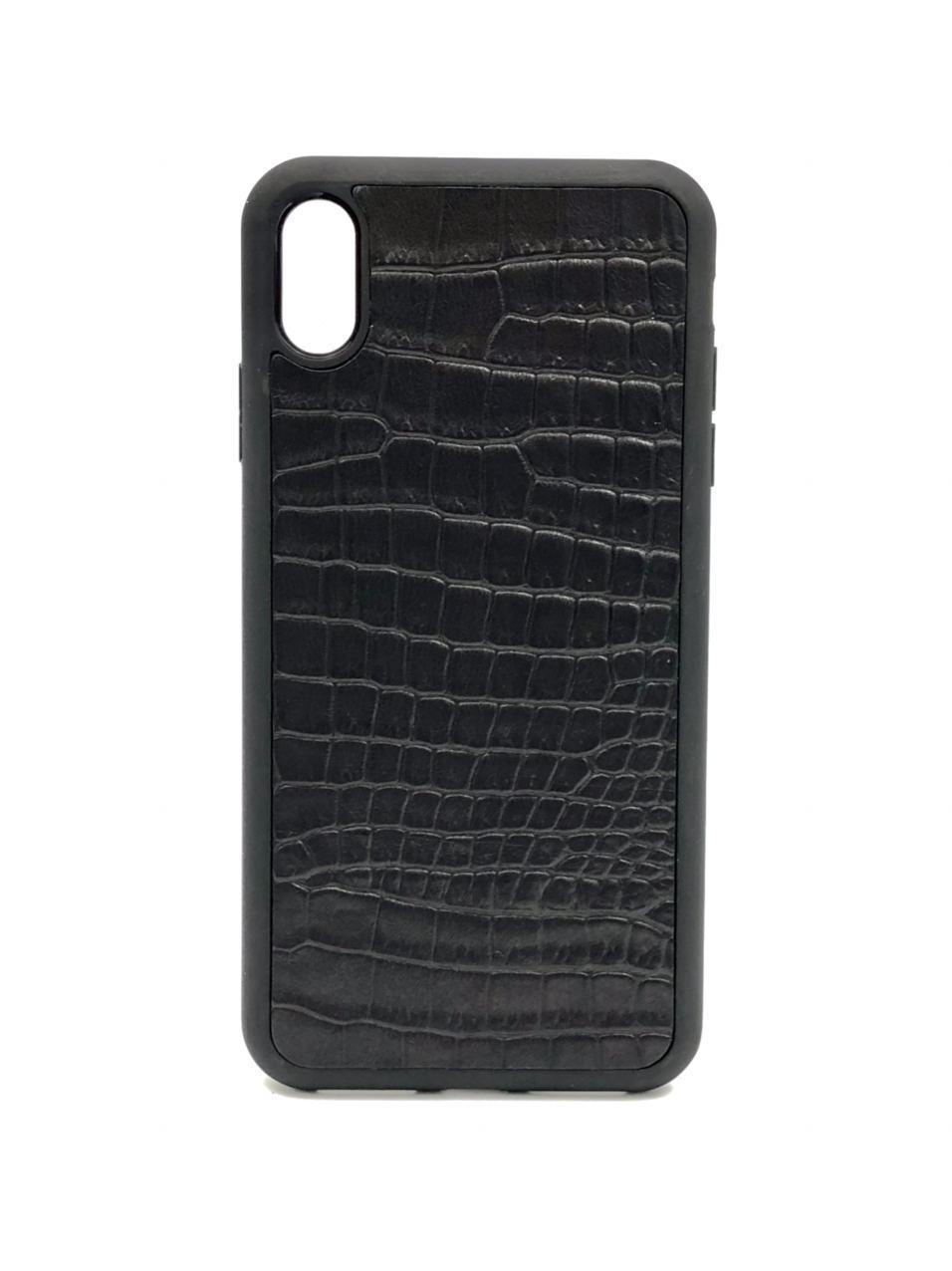 Чехол для iPhone Xr чёрного цвета из Телячьей кожи тиснёной под Крокодила