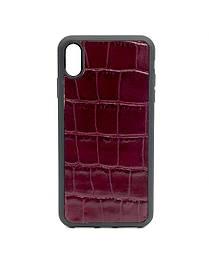 Чехол для iPhone Xr бордового цвета из Телячьей кожи тиснёной под Крокодила
