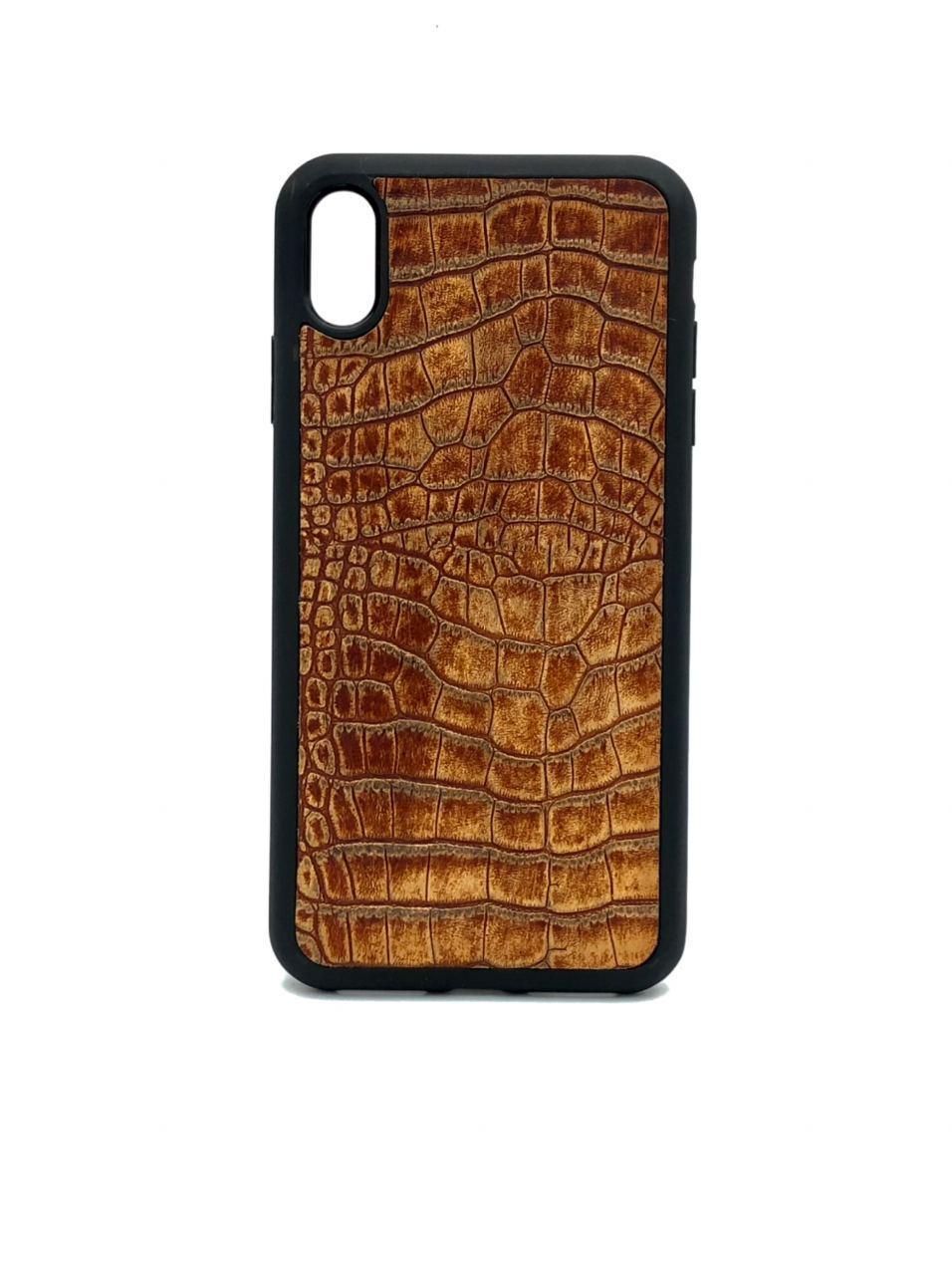 Чехол для iPhone Xr светло-коричневого цвета из Телячьей кожи тиснёной под Крокодила