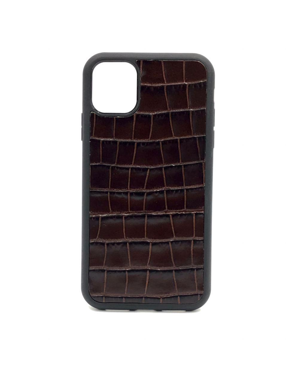 Чехол для iPhone 11 Pro тёмно-коричневого цвета из Телячьей кожи тиснёной под Крокодила