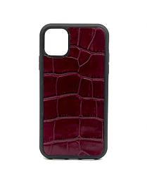 Чехол для iPhone 11 Pro бордового цвета из Телячьей кожи тиснёной под Крокодила