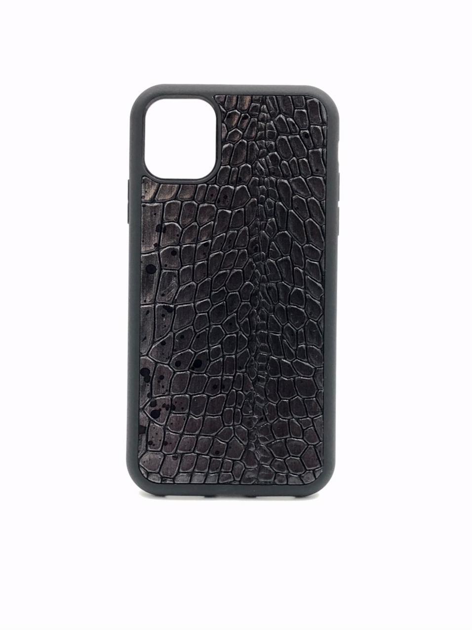 Чехол для iPhone 11 Pro чёрного цвета из Телячьей кожи тиснёной под Крокодила