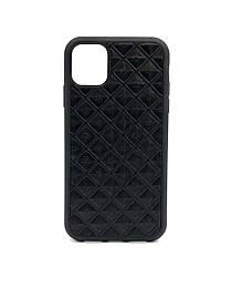 Чехол для iPhone 11 Pro чёрного цвета из Телячьей кожи тиснёной под ромбы