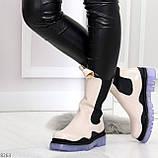 Модельные высокие бежевые Женские ботинки челси с эластичными вставками по бокам, фото 4