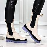 Модельные высокие бежевые Женские ботинки челси с эластичными вставками по бокам, фото 5