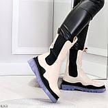 Модельные высокие бежевые Женские ботинки челси с эластичными вставками по бокам, фото 6