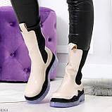 Модельные высокие бежевые Женские ботинки челси с эластичными вставками по бокам, фото 7