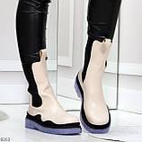 Модельные высокие бежевые Женские ботинки челси с эластичными вставками по бокам, фото 8