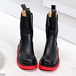 Модельные высокие черные Женские ботинки челси на красной подошве, фото 2