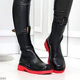 Модельные высокие черные Женские ботинки челси на красной подошве, фото 3