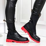 Модельные высокие черные Женские ботинки челси на красной подошве, фото 5