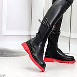 Модельные высокие черные Женские ботинки челси на красной подошве, фото 6