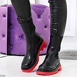 Модельные высокие черные Женские ботинки челси на красной подошве, фото 7