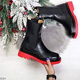 Модельные высокие черные Женские ботинки челси на красной подошве, фото 8