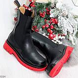 Модельные высокие черные Женские ботинки челси на красной подошве, фото 10