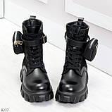 Черные демисезонные женские ботинки мартинсы с кошельками низкий ход, фото 2