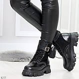 Черные демисезонные женские ботинки мартинсы с кошельками низкий ход, фото 5