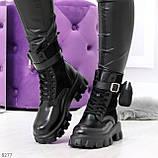 Черные демисезонные женские ботинки мартинсы с кошельками низкий ход, фото 6