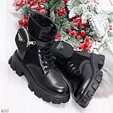 Черные демисезонные женские ботинки мартинсы с кошельками низкий ход, фото 8