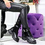 Черные демисезонные женские ботинки мартинсы с кошельками низкий ход, фото 9