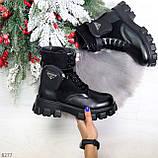 Черные демисезонные женские ботинки мартинсы с кошельками низкий ход, фото 10