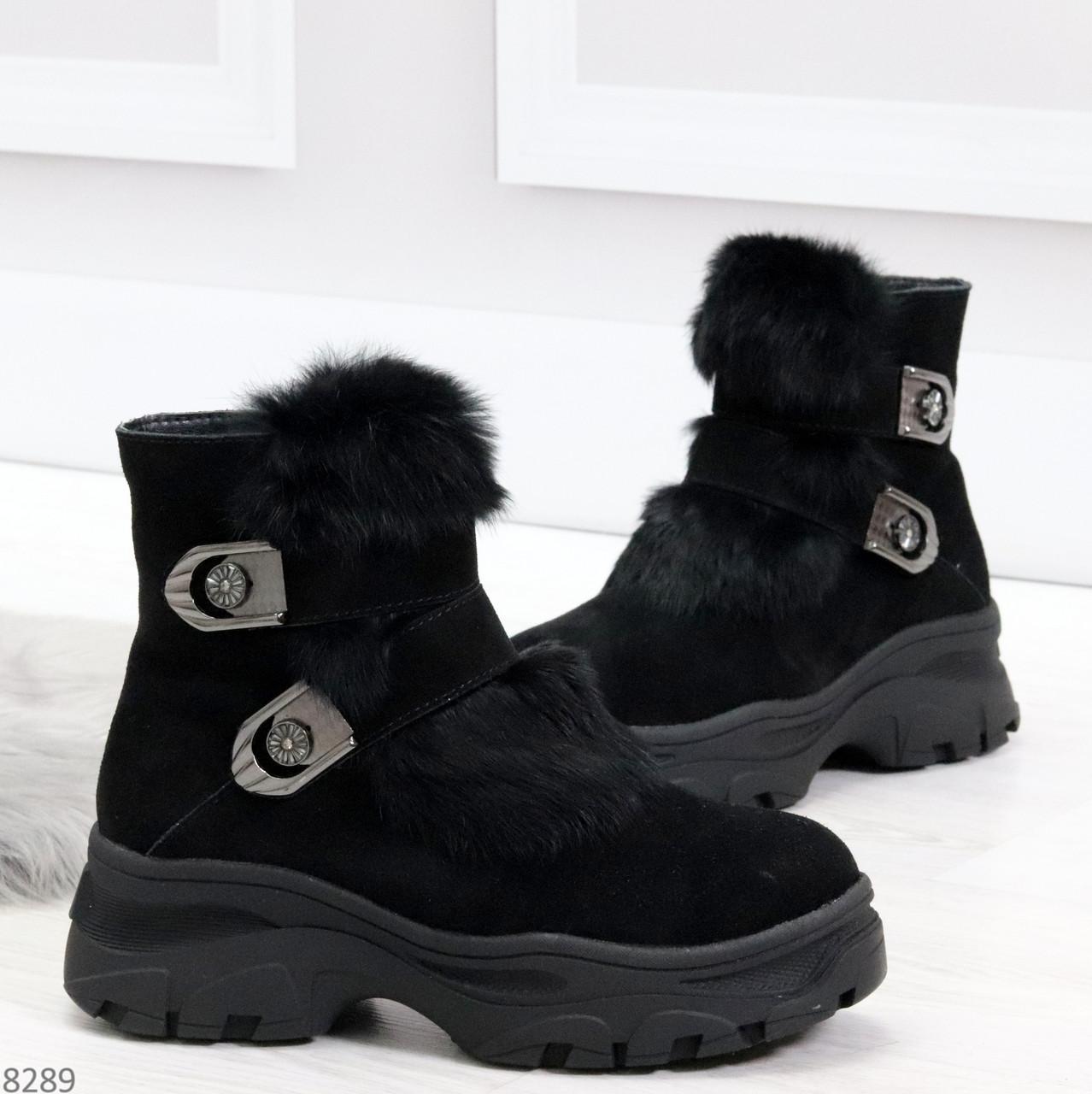 Роскошные черные зимние женские ботинки из натуральной замши с опушкой 36-23 37-23,5 40-25см