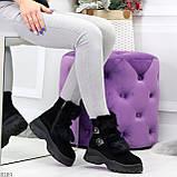 Роскошные черные зимние женские ботинки из натуральной замши с опушкой 36-23 37-23,5 40-25см, фото 2