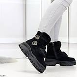 Роскошные черные зимние женские ботинки из натуральной замши с опушкой 36-23 37-23,5 40-25см, фото 3