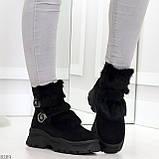 Роскошные черные зимние женские ботинки из натуральной замши с опушкой 36-23 37-23,5 40-25см, фото 4
