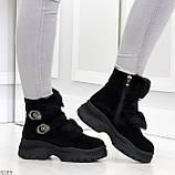 Роскошные черные зимние женские ботинки из натуральной замши с опушкой 36-23 37-23,5 40-25см, фото 5