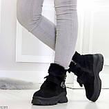 Роскошные черные зимние женские ботинки из натуральной замши с опушкой 36-23 37-23,5 40-25см, фото 6