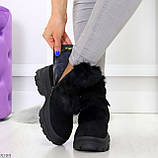 Роскошные черные зимние женские ботинки из натуральной замши с опушкой 36-23 37-23,5 40-25см, фото 7