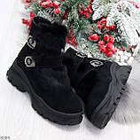 Роскошные черные зимние женские ботинки из натуральной замши с опушкой 36-23 37-23,5 40-25см, фото 9