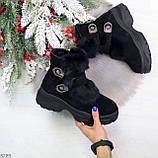 Роскошные черные зимние женские ботинки из натуральной замши с опушкой 36-23 37-23,5 40-25см, фото 10