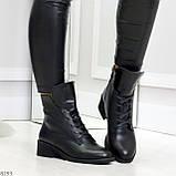 Крутые повседневные женские черные ботинки на шнуровке из натуральной кожи, фото 2