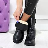 Крутые повседневные женские черные ботинки на шнуровке из натуральной кожи, фото 3