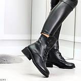 Крутые повседневные женские черные ботинки на шнуровке из натуральной кожи, фото 4
