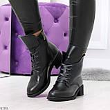 Крутые повседневные женские черные ботинки на шнуровке из натуральной кожи, фото 6