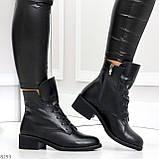 Крутые повседневные женские черные ботинки на шнуровке из натуральной кожи, фото 7